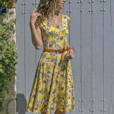 Fashion Casual V-Neck Floral Printed Sleeveless Dress