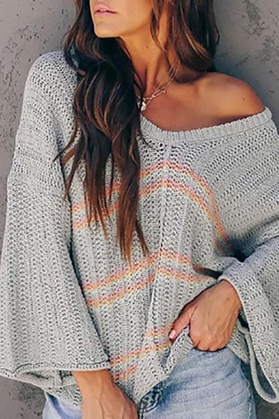 Brief Stripe V Neck Long Sleeve Sweater