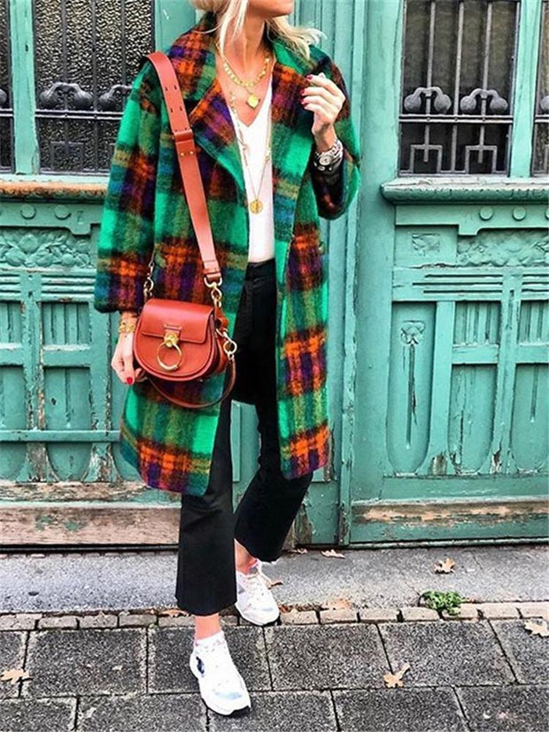 Autumn And Winter Casual Plaid Print Coat