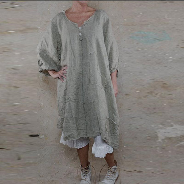 Casual Cotton Tattered Dress
