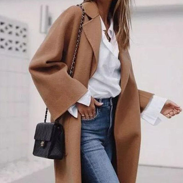 Lapel Long Sleeve Solid Color Maxi Coat