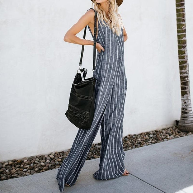 Fashion Striped V-Neck Overalls Casual Wide Leg Jumpsuit