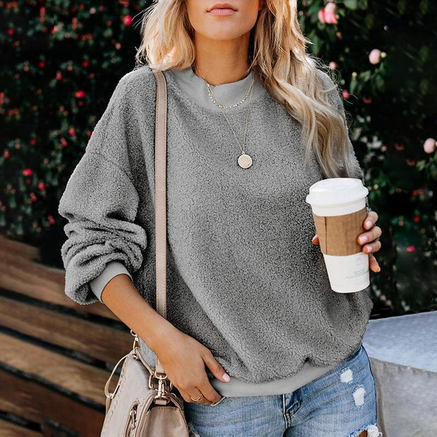 Casual Long-Sleeved Plush Solid Color Sweater