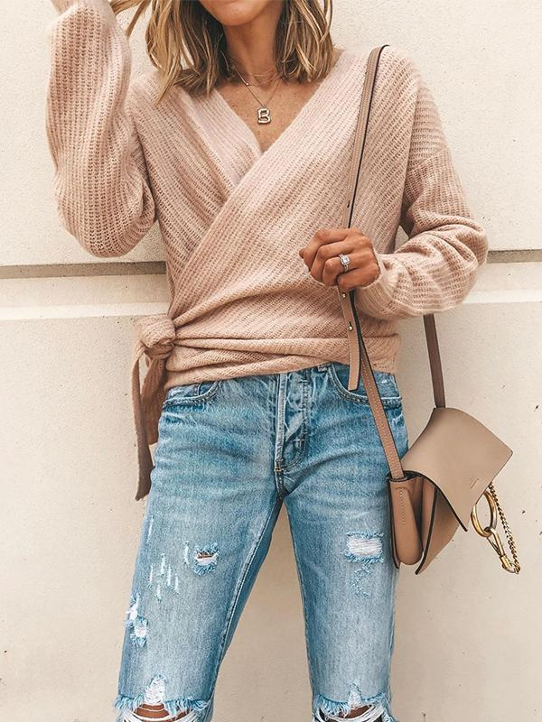 Casual V-Neck Tie With Long Sleeve Sweater