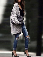 Casual Brief Long Sleeve Jacquard Loose Sweater Cardigan