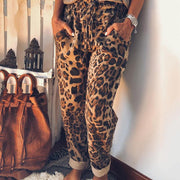 Casual Belted Leopard Print Pants