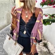 Casual Printed Fringed Drawstring Cardigan