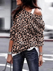 Europe And The United States Single Shoulder Collar Leopard Loose Tops