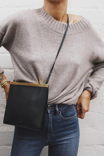Casual Pure Color Round Neck Sweater