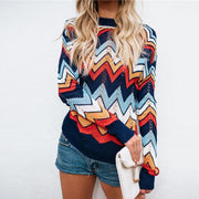 Casual Round Neck Long Sleeve Stripe Sweater