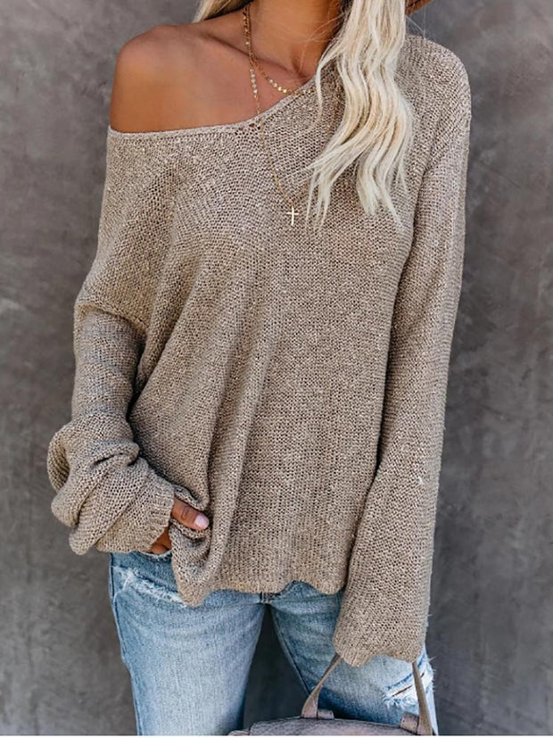 Casual Wide Collar Loose Sweaters