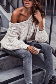 Casual Solid Color Cutout Shoulder Strap Long Sleeve Sweater
