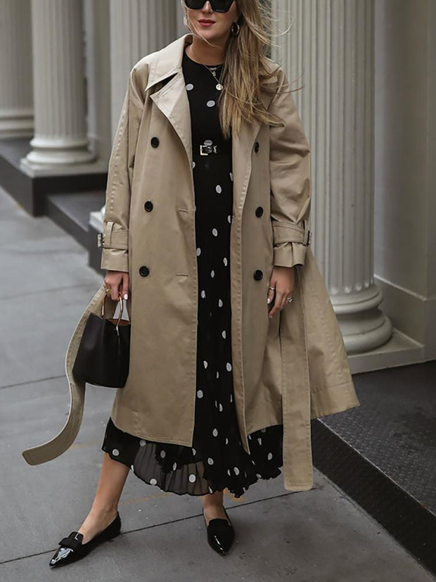 Casual Pure Color Fold-Over Collar Overcoat