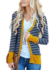 Casual Stripe Splicing Long Sleeve Single-Breasted Cardigan
