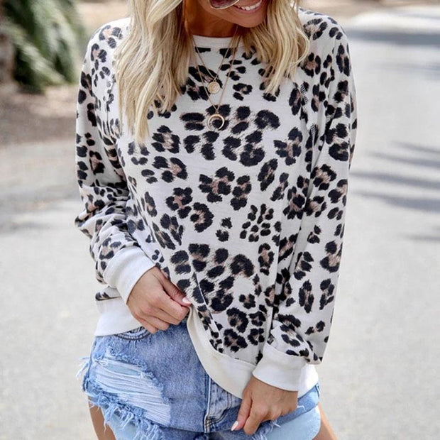 Fashion Leopard Print Round Neck Long Sleeve T-Shirt