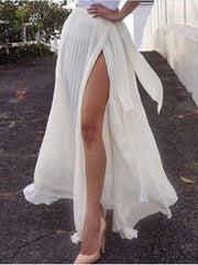 White Ruffle Split-side Skirt Bottoms