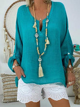 Solid Color V-neck Loose Blouses&Shirts Tops