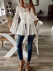 Without Vest Long Sleeve Lace Blouses&shirts Tops