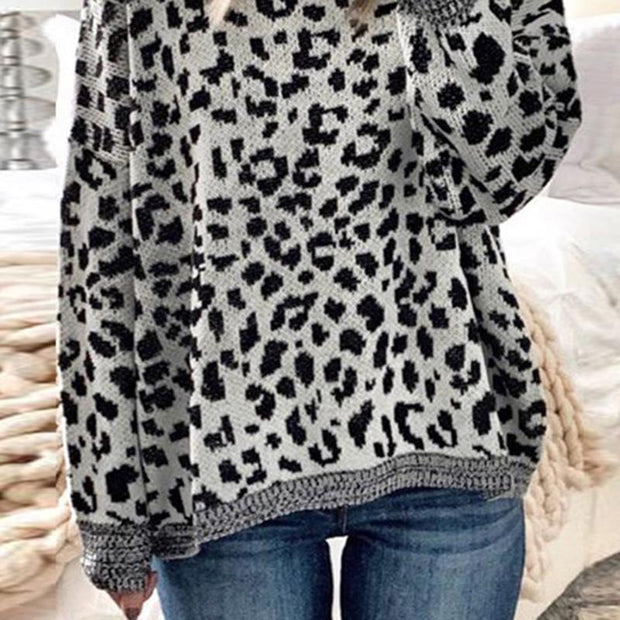 fashion leopard print loose long sleeves round neck sweater