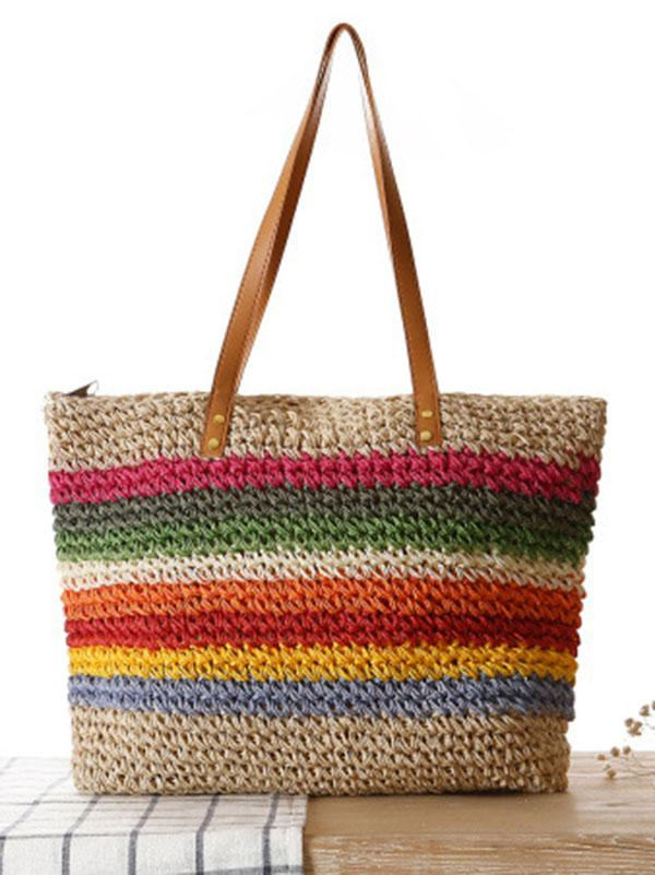 Rainbow Straw Plaited Article Bohemia Bag