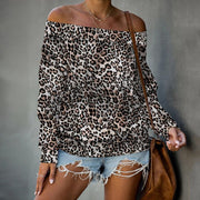 Casual Leopard Print Long Sleeve Boat Neck T-Shirt