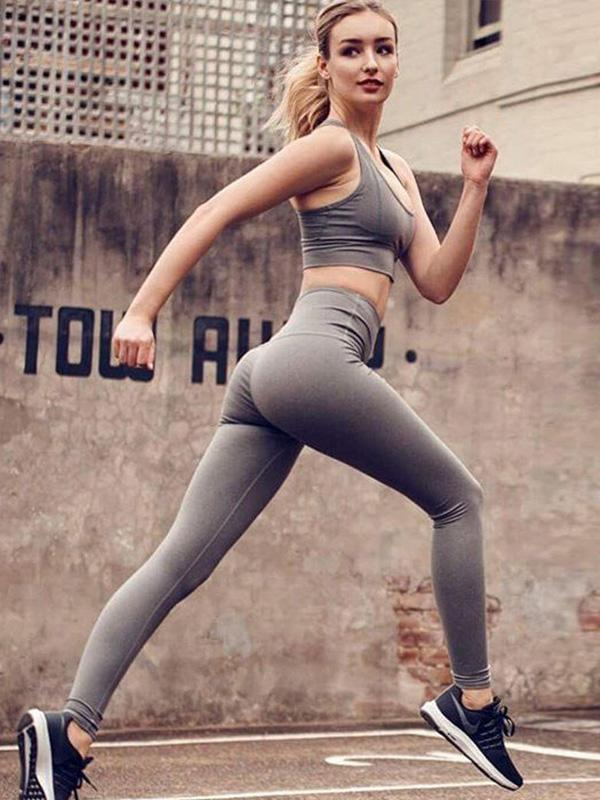 Solid Sports Bra And Leggings Suits