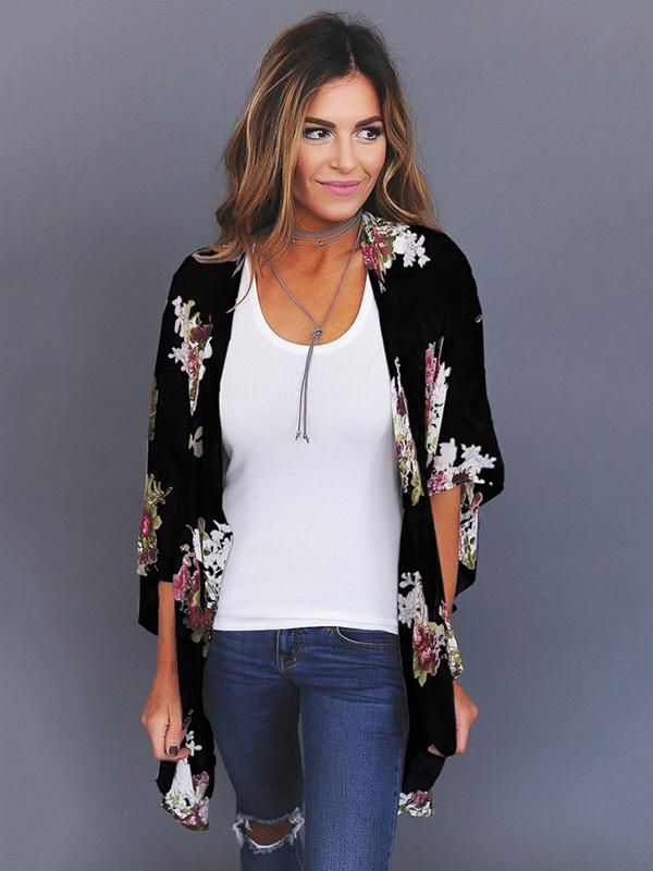 Bohemia Long Sleeves Floral Printed Cover-up Outwear