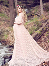 Maternity Lace Falbala Sleeve Maxi Dress