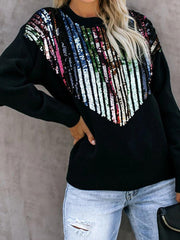 fahion round neck Sequin long sleeves loose sweatershirt