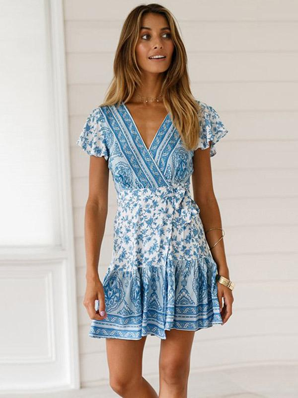 Bandage Printed V-neck Mini Dress