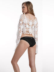 Knitted Bohemia White Long Sleeves Blouses&shirts Tops