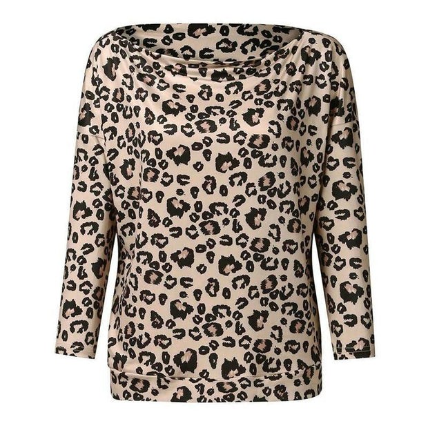Casual Off-the-shoulder Leopard-print Loose Bat Long-sleeved T-shirt
