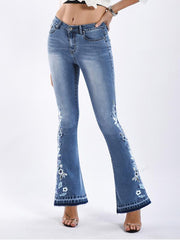 Fashion Embroidered Jean Pants Bottoms