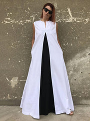 White&Black Split-joint Sleeveless Linen Long Dress