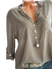 Plus Size 6Color Polka Dot Print Shirt