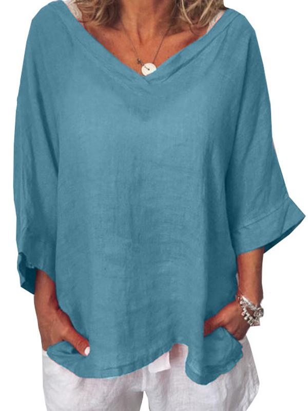 Plus Size Short Sleeves V-neck Solid Colors LooseBlouses&shirts Tops