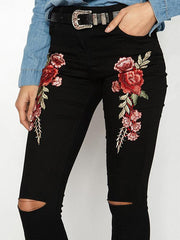 Fashion Embroidered Ripped Jean Pants Bottoms