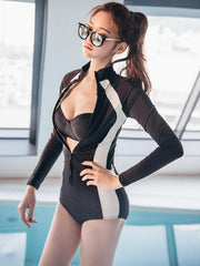 High-neck Zipper Front One Piece Swimsuit