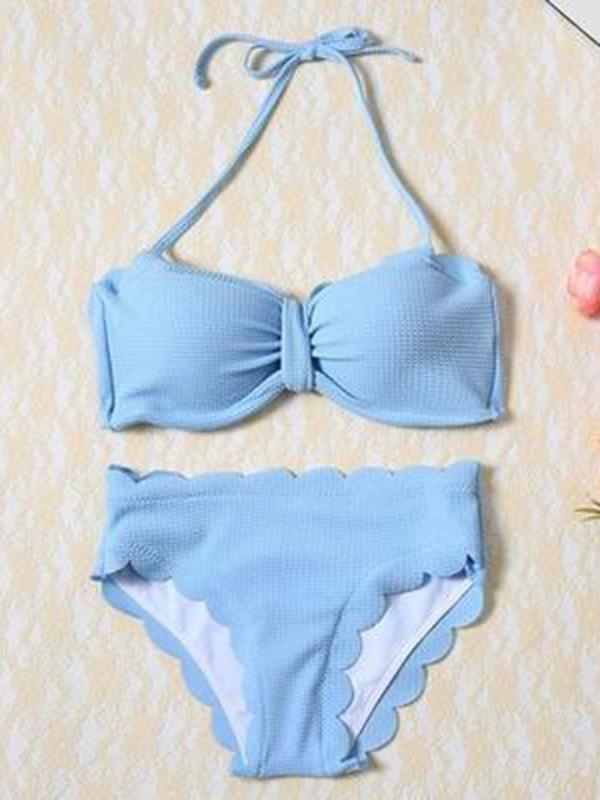 Fashion Bandeau Plain Bikinis Swimwear