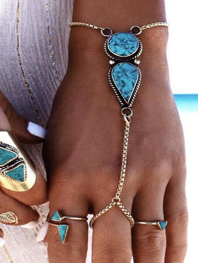 Vintage Turquoise With Ring Bracelet Accessories