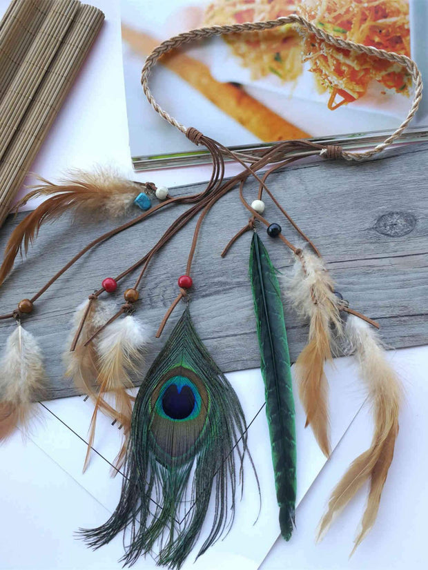 Tassels Peacock Feathers Hair Band Headwear Accessories