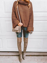 Solid Color Knitting High-neck Sweater Tops