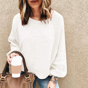 casual loose round neck long bell puff sleeves sweatershirt