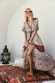 V-neck Single-breasted Printed High Waist Maxi Dresses