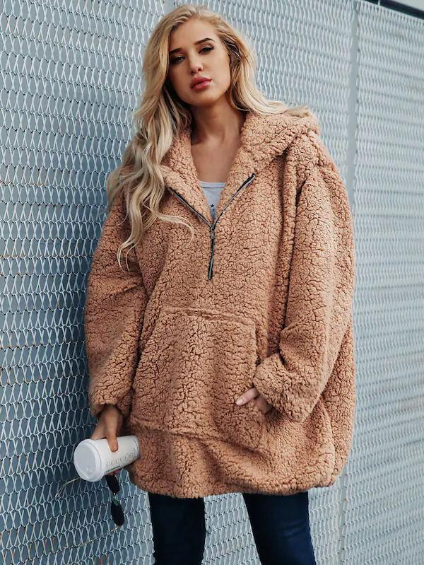 Hooded Zipper Loose Coat Tops