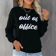 Casual Letter Pullover Round Neck Long Sleeve Knit T-shirt