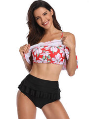 Off-the-shoulder High Waisted Bikinis Swimwear