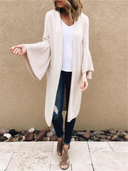 Fashion Pocket Trumpet Sleeve Cardigan
