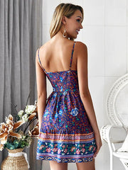 V-neck Floral Printed Mini Dress
