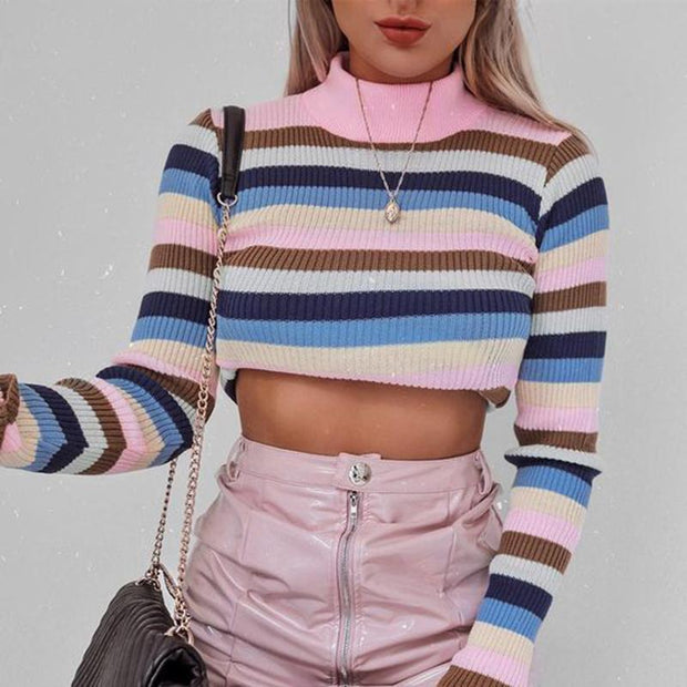 Casual High Collar Colorblock Striped Short Knit Sweater